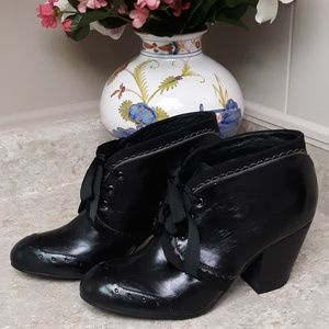 Black Chelsea Crew Ribbon Tie Ankle Boots